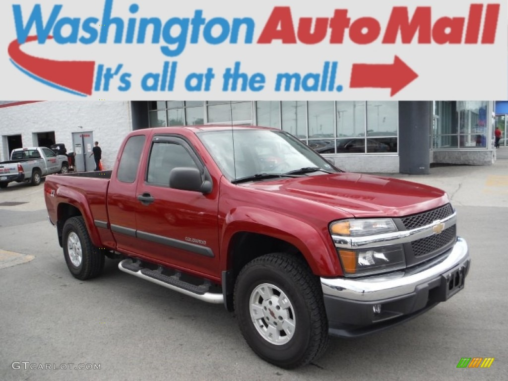 2005 colorado z71 extended cab 4x4 dark cherry red metallic medium dark pewter photo