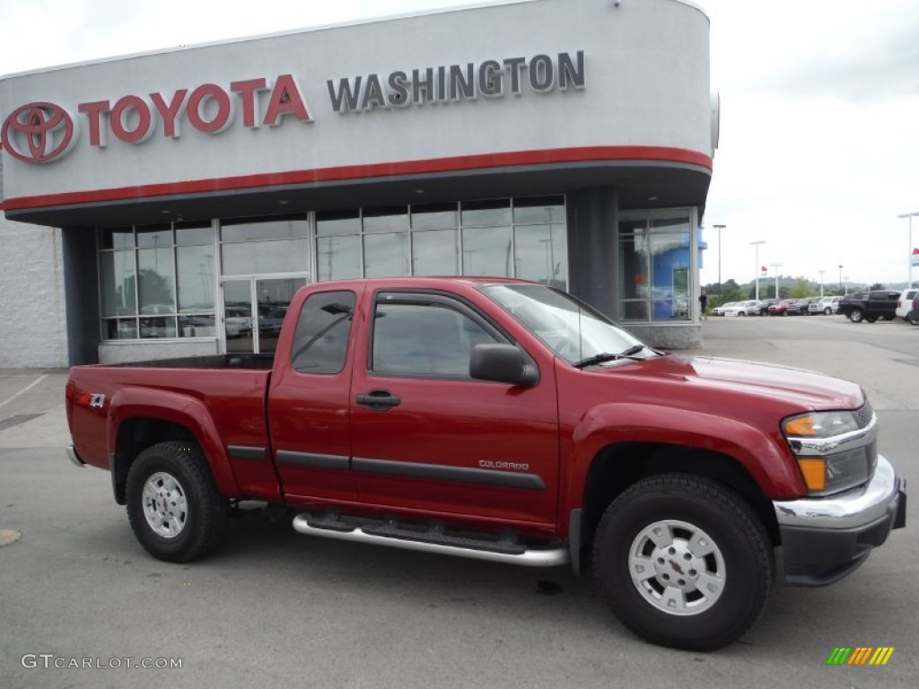2005 dark cherry red metallic chevrolet colorado z71 extended cab 4x4 105458635 photo 2