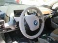 2015 BMW i3 Giga Cassia Natural Leather & Carum Spice Grey Wool Cloth Interior Steering Wheel Photo