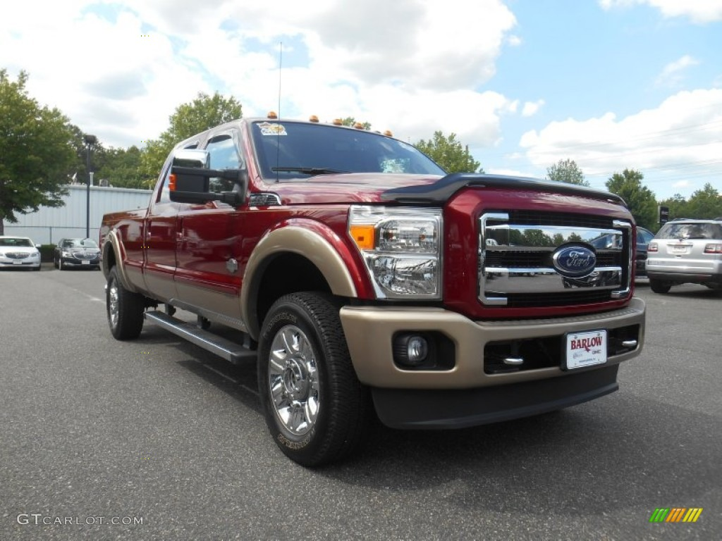 2014 vermillion red ford f350 super duty king ranch crew cab 4x4 105779124 car. Black Bedroom Furniture Sets. Home Design Ideas