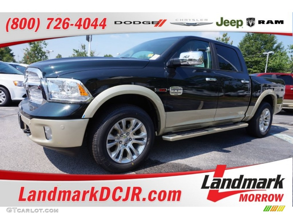 2015 1500 Laramie Long Horn Crew Cab - Black Forest Green Pearl / Canyon Brown/Light Frost photo #1