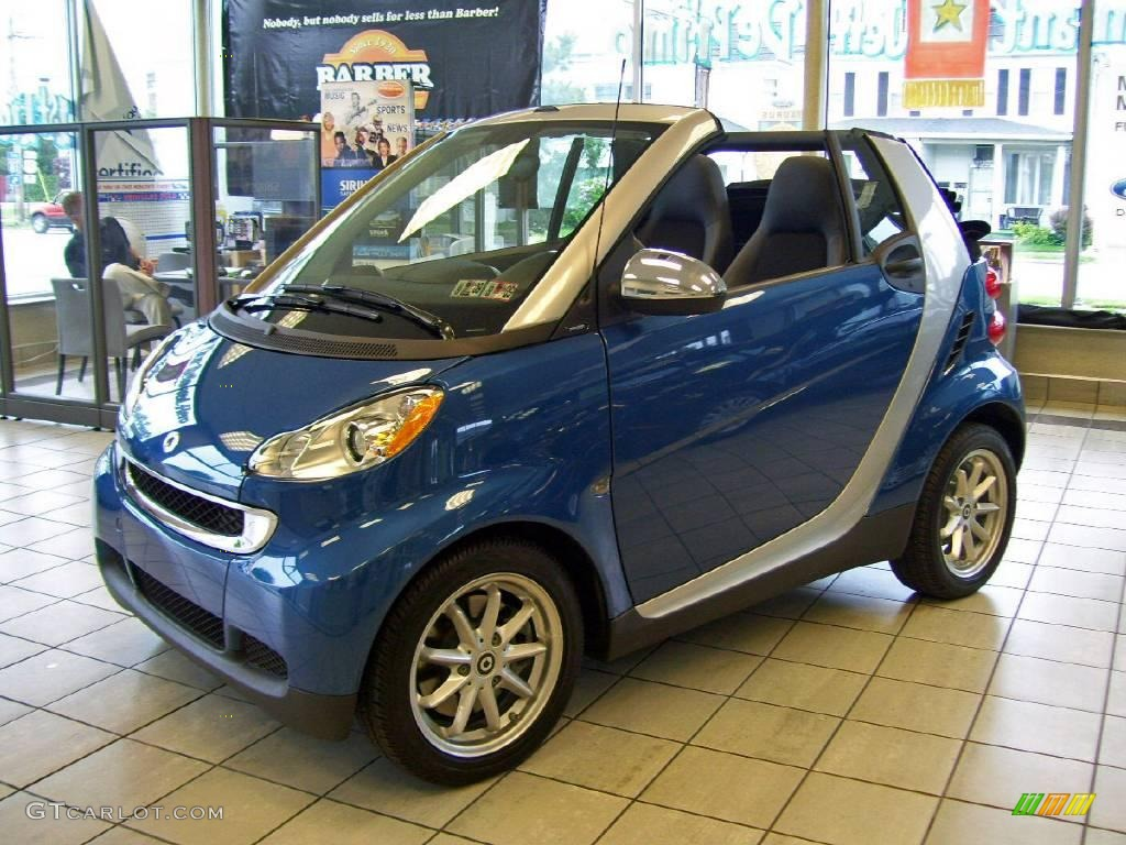 2008 blue metallic smart fortwo passion cabriolet. Black Bedroom Furniture Sets. Home Design Ideas