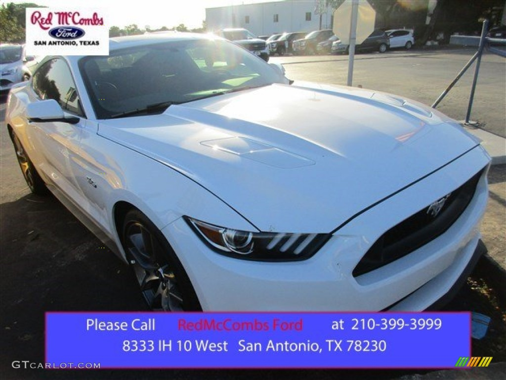 2015 Mustang GT Premium Coupe - Oxford White / Red Line photo #1
