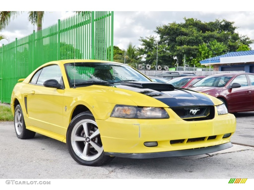 2002 Mustang V6 Coupe - Zinc Yellow / Medium Graphite photo #1