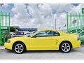 2002 Zinc Yellow Ford Mustang V6 Coupe  photo #47