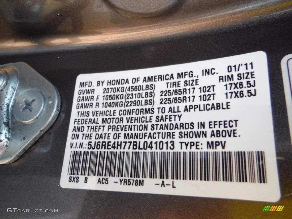 2011 CR-V EX-L 4WD - Urban Titanium Metallic / Black photo #19