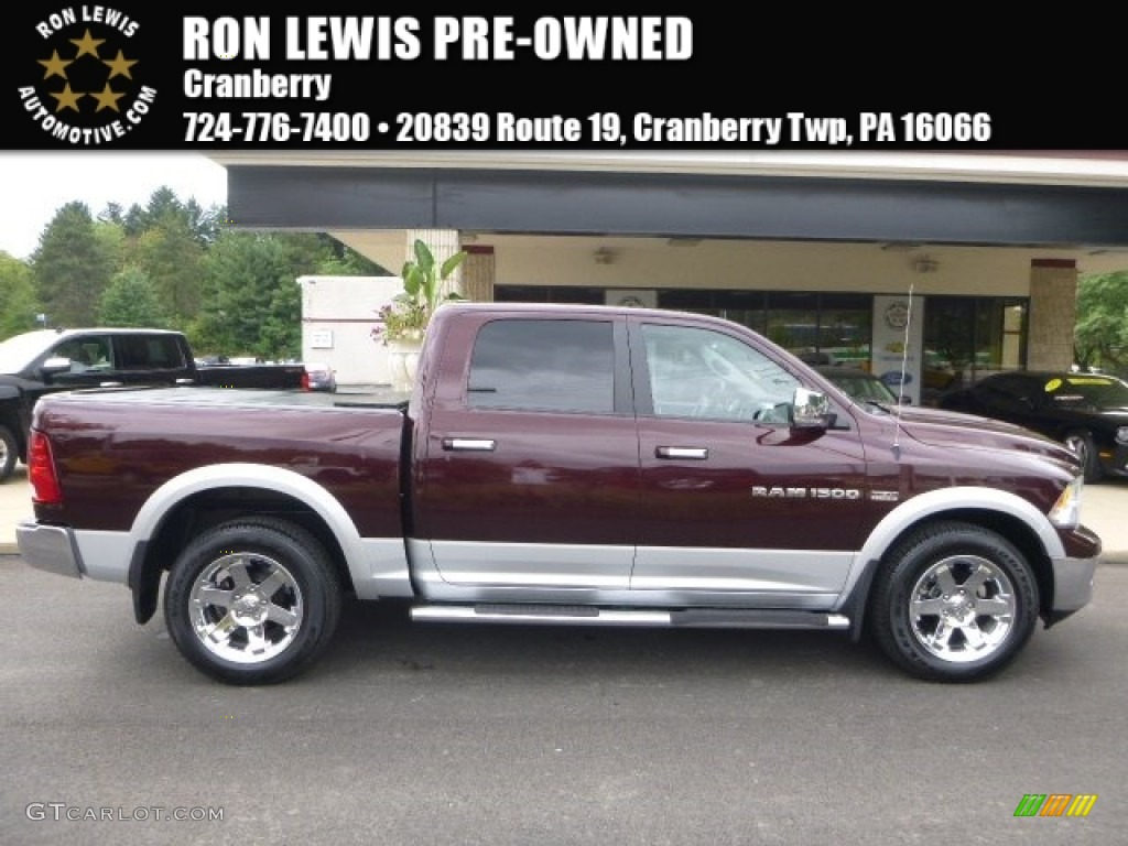 2012 Ram 1500 Laramie Crew Cab 4x4 - Deep Molten Red Pearl / Light Pebble Beige/Bark Brown photo #1