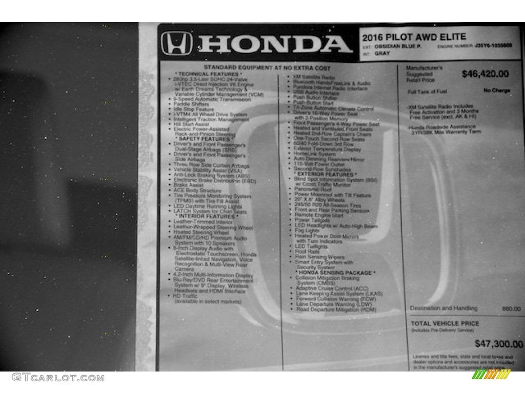 2016 Honda Pilot Elite AWD Window Sticker Photos   GTCarLot.com