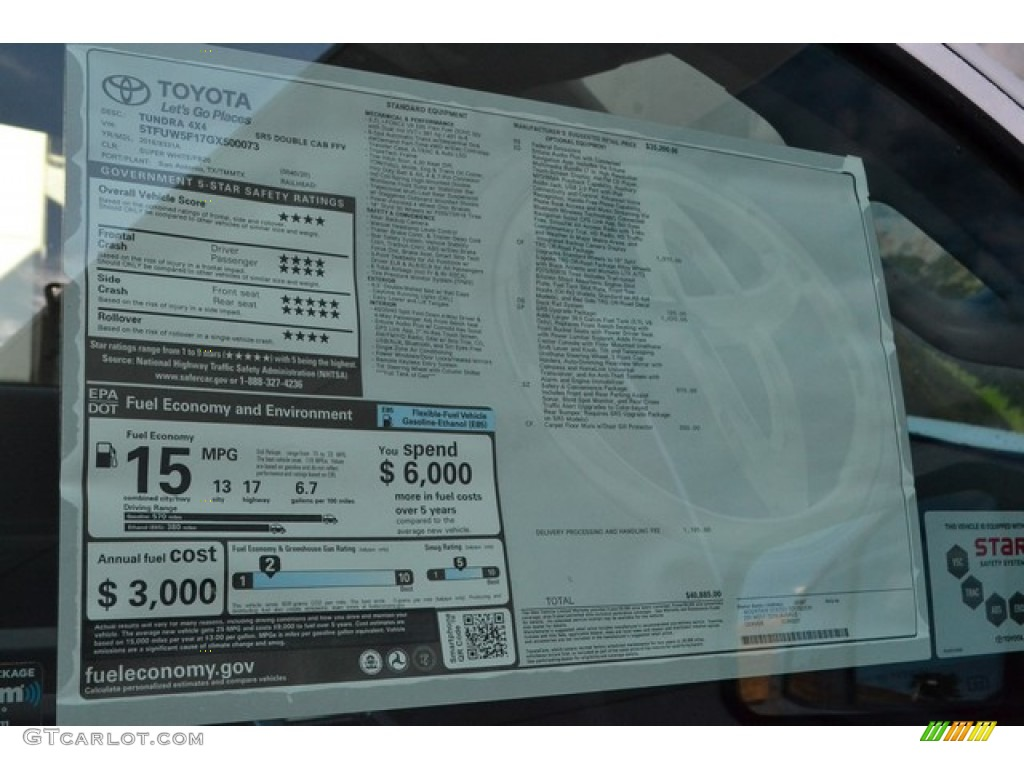 2016 Tundra SR5 Double Cab 4x4 - Super White / Graphite photo #10