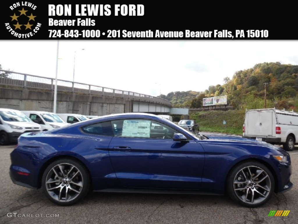 2016 deep impact blue metallic ford mustang ecoboost premium coupe