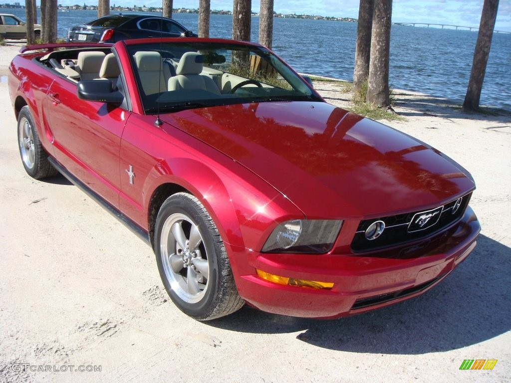 2006 Mustang V6 Premium Convertible - Redfire Metallic / Light Parchment photo #1