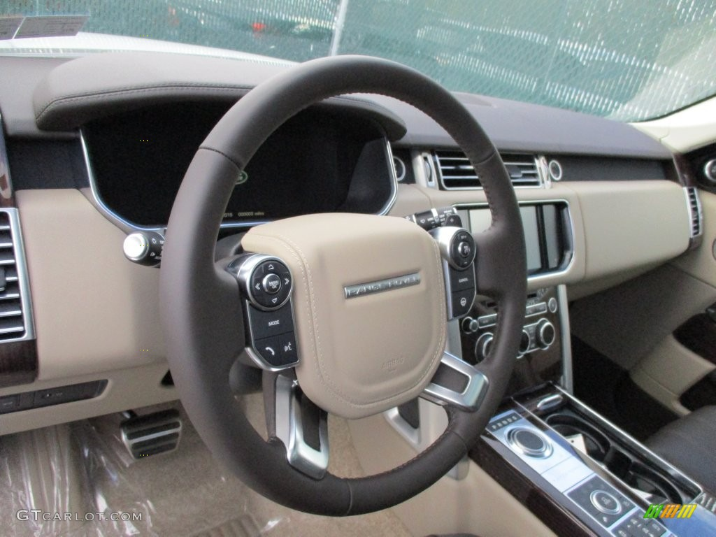 2016 Land Rover Range Rover Supercharged Espresso/Almond Steering Wheel Photo #108679153