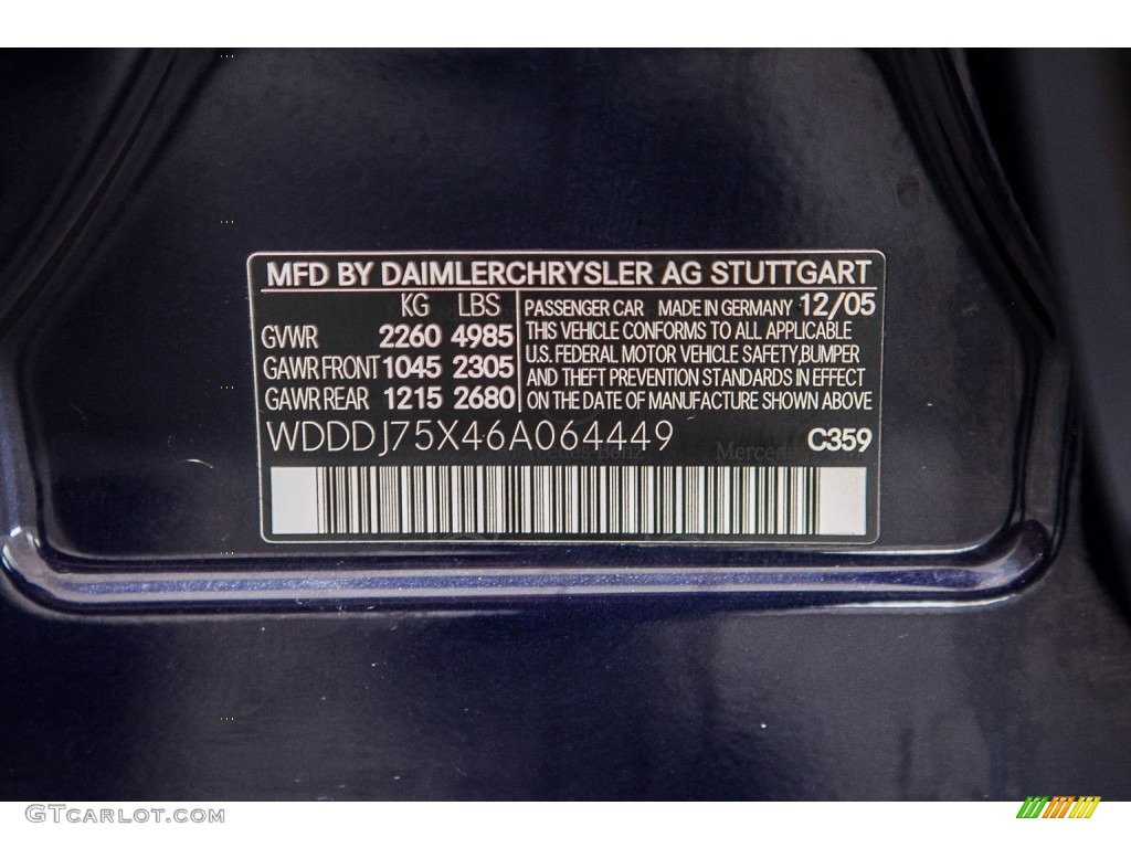 2006 mercedes benz cls 500 color code photos for Mercedes benz color codes