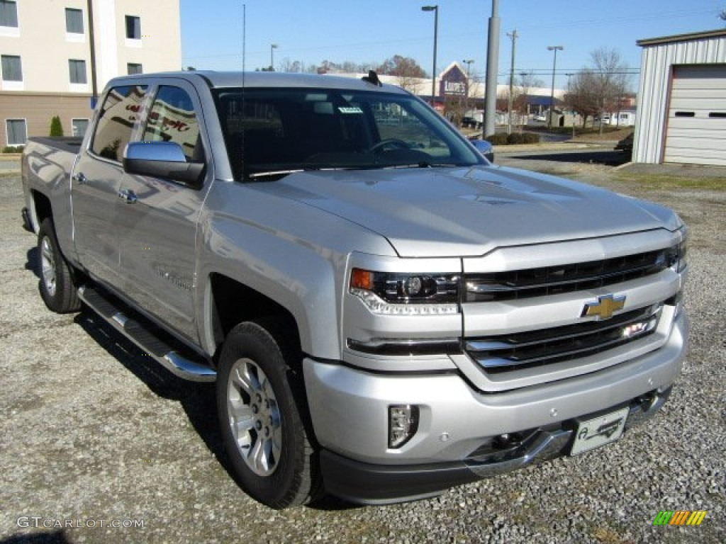 2016 silver ice metallic chevrolet silverado 1500 ltz z71 crew cab 4x4 109147297. Black Bedroom Furniture Sets. Home Design Ideas