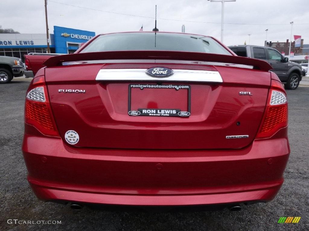 2011 Fusion SEL V6 - Red Candy Metallic / Medium Light Stone photo #3