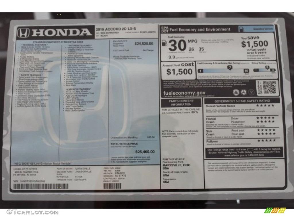2016 Honda Accord Lx S Coupe Window Sticker Photos Gtcarlot Com