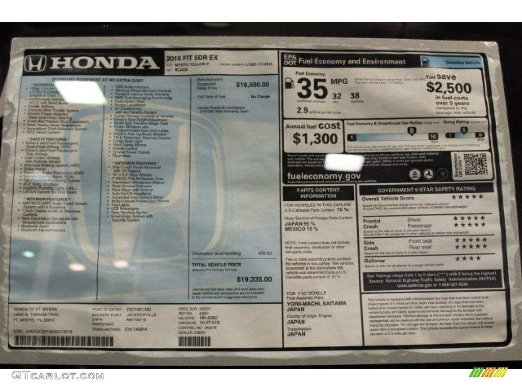 2016 Honda Fit Ex Window Sticker Photo 110305950 Gtcarlot Com