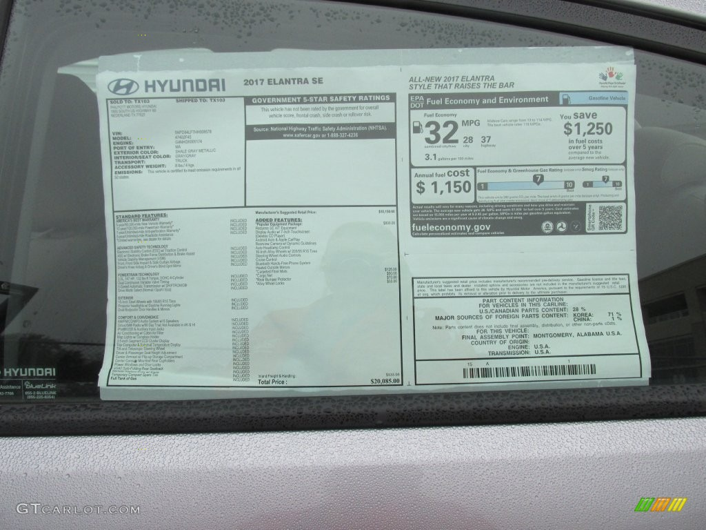 2017 hyundai elantra se window sticker photo 110490686