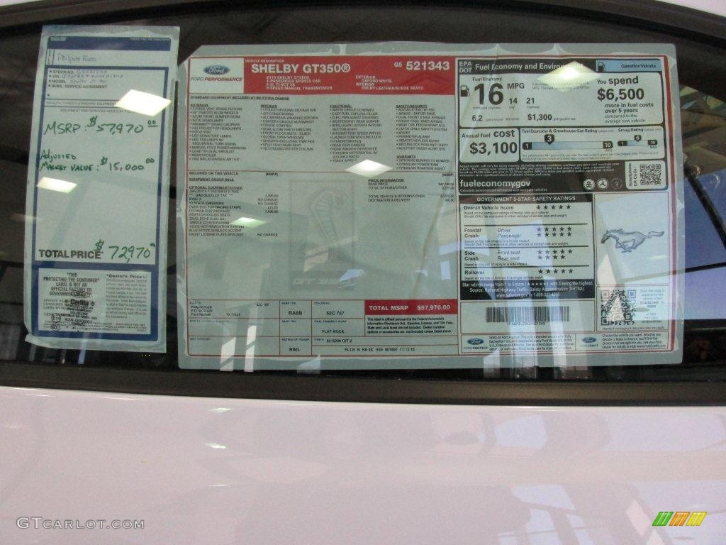 2016 Ford Mustang Shelby GT350 Window Sticker Photo #110646746 | GTCarLot.com