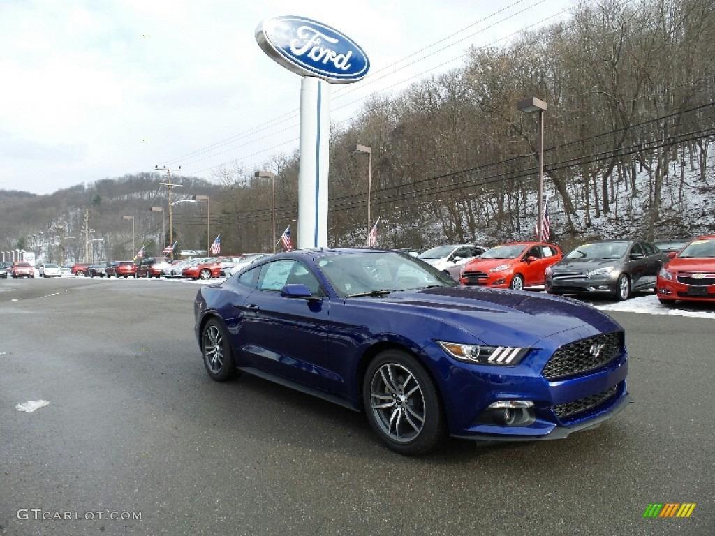 2016 Mustang EcoBoost Coupe - Deep Impact Blue Metallic / Ebony photo #5