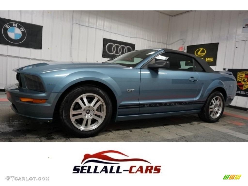 2006 Mustang GT Premium Convertible - Windveil Blue Metallic / Red/Dark Charcoal photo #1