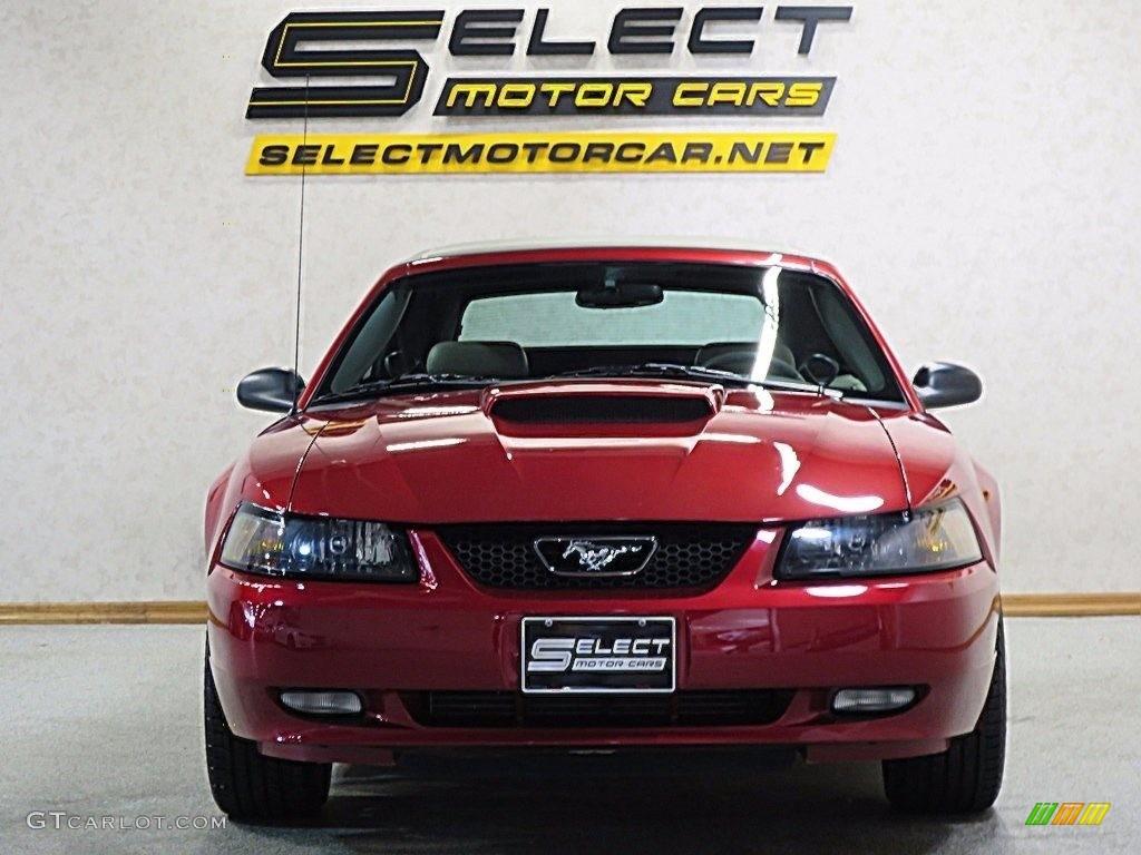 2002 Mustang GT Convertible - Laser Red Metallic / Medium Parchment photo #2