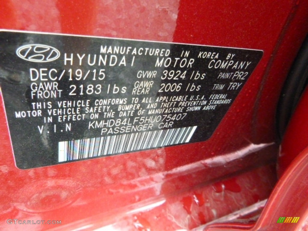 2017 elantra color code pr2 for red photo 111591794