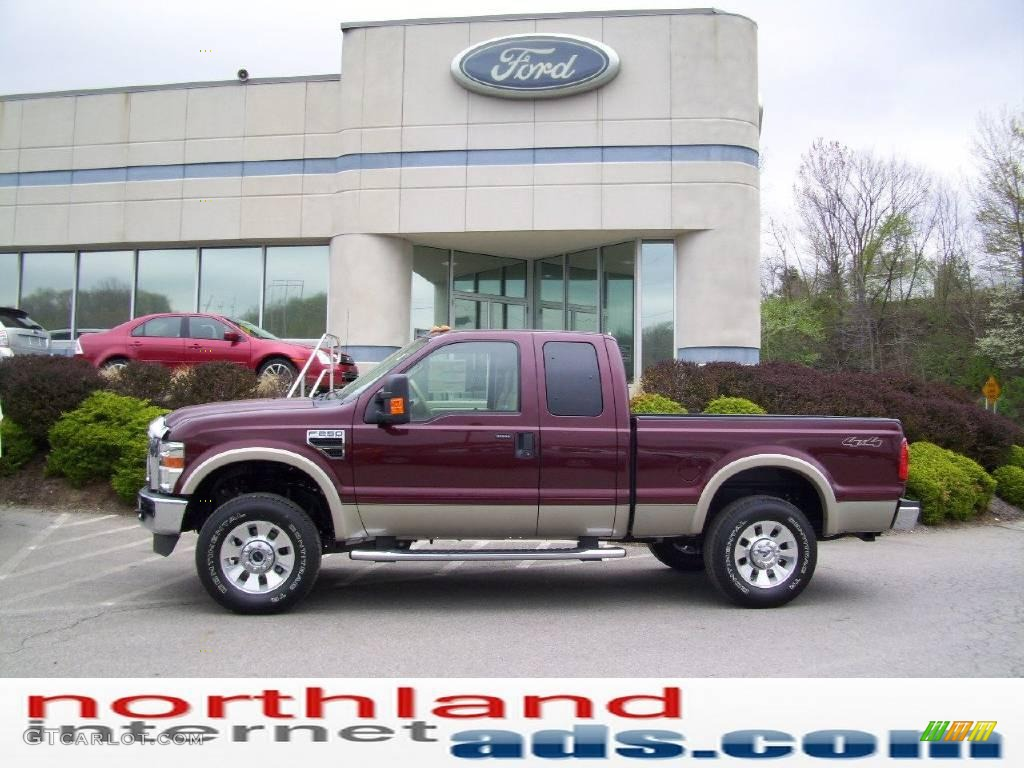 2009 royal red metallic ford f250 super duty lariat supercab 4x4 11208526 car. Black Bedroom Furniture Sets. Home Design Ideas