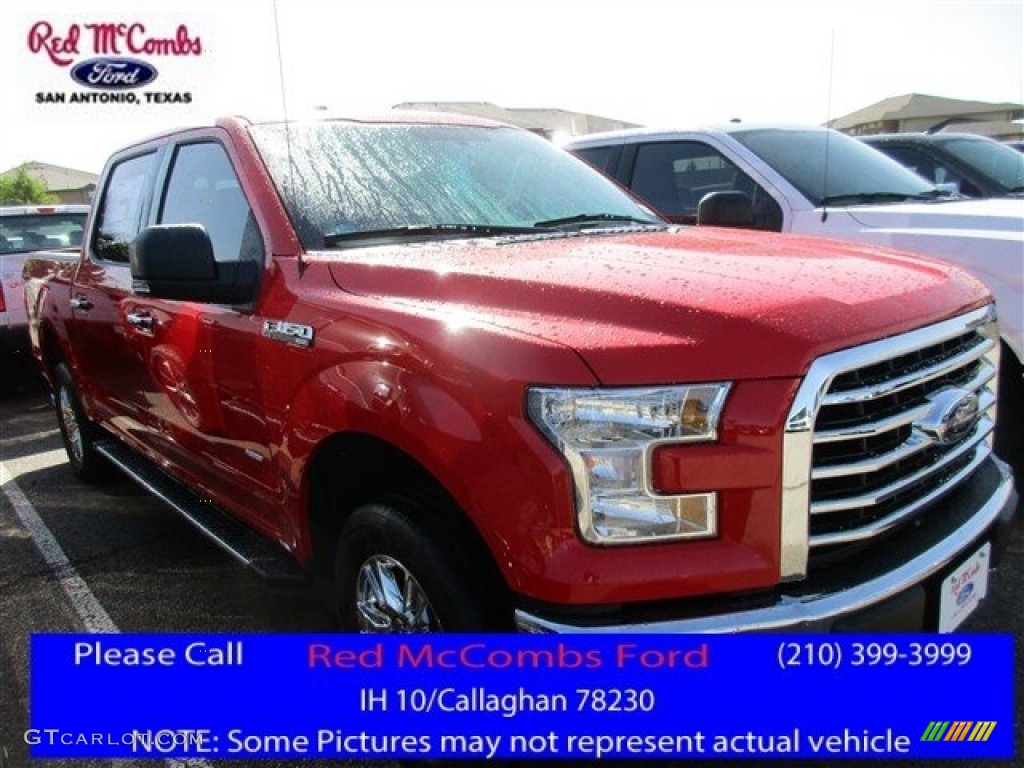 2016 F150 XLT SuperCrew 4x4 - Race Red / Medium Earth Gray photo #1