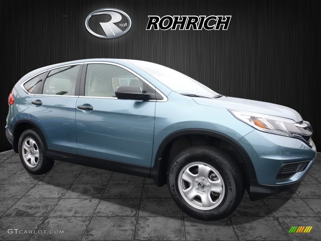 2015 CR-V LX AWD - Obsidian Blue Pearl / Beige photo #1
