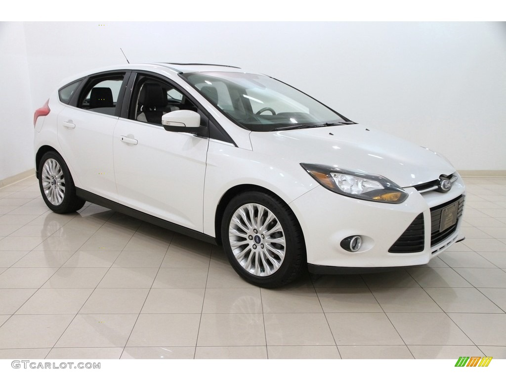 2012 Focus Titanium 5-Door - White Platinum Tricoat Metallic / Arctic White Leather photo #1