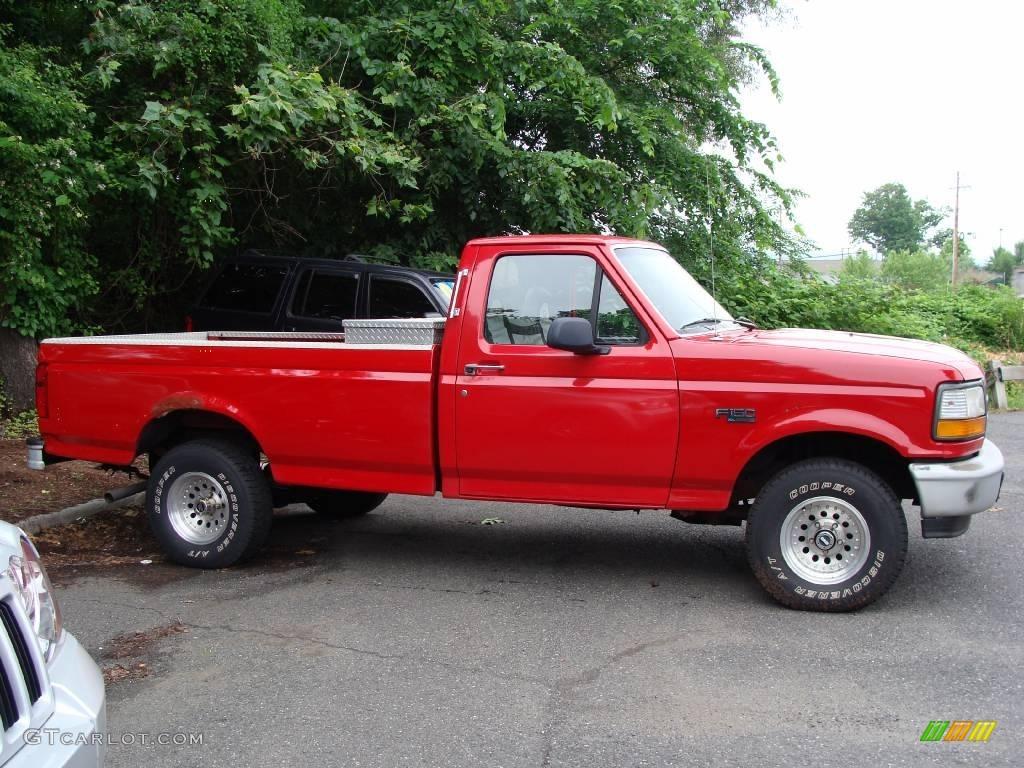 bright red 1996 ford f150 xl regular cab 4x4 exterior photo 11296983. Black Bedroom Furniture Sets. Home Design Ideas