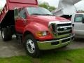 2008 Red Ford F650 Super Duty XLT Regular Cab Chassis Dump Truck  photo #5