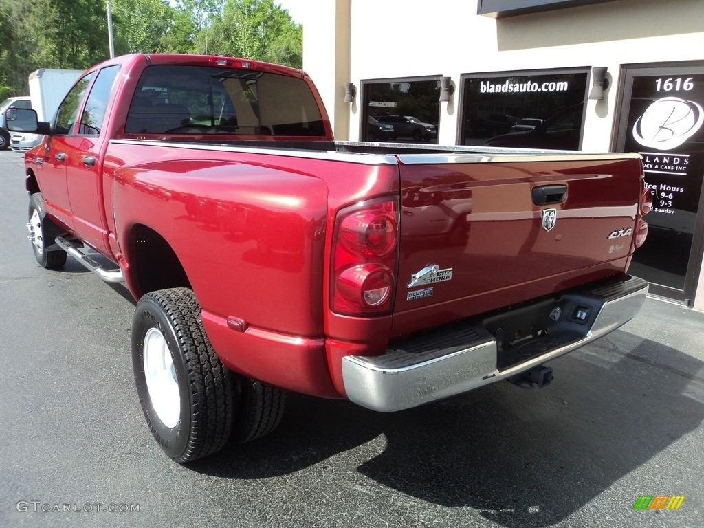 2008 Ram 3500 SLT Quad Cab 4x4 Dually - Inferno Red Crystal Pearl / Medium Slate Gray photo #3