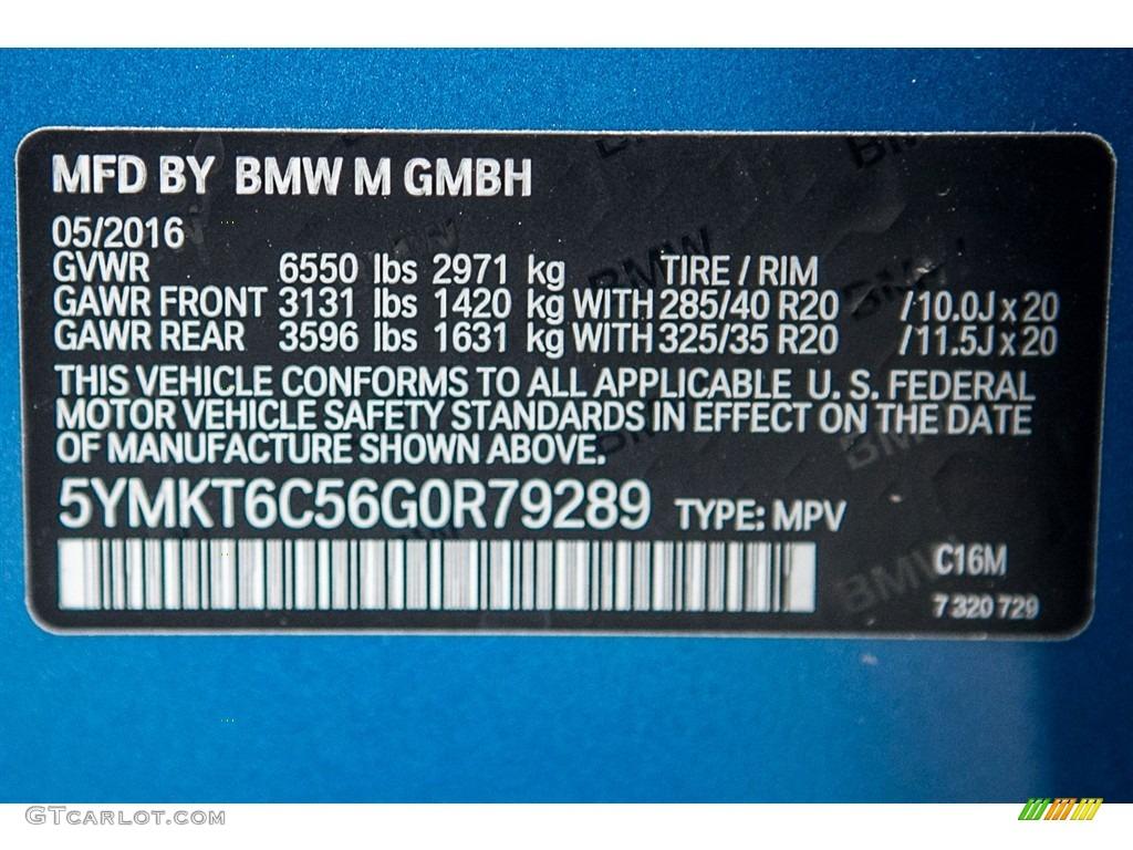 2016 X5 M Color Code C16m For Long Beach Blue Metallic Photo