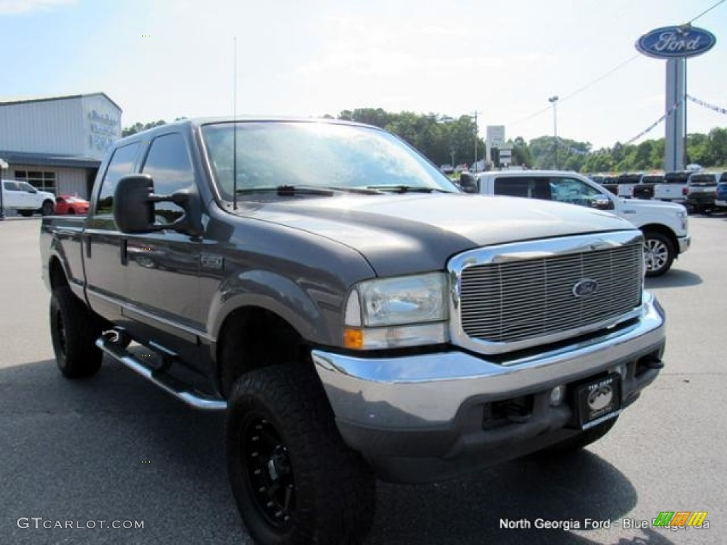 2002 F250 Super Duty Lariat Crew Cab 4x4 - Dark Shadow Grey Metallic / Medium Flint photo #7