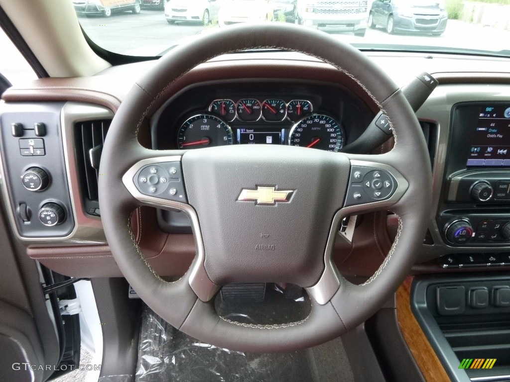 2017 Chevrolet Silverado 1500 High Country Crew Cab 4x4 High Country Saddle Steering Wheel Photo #114989627
