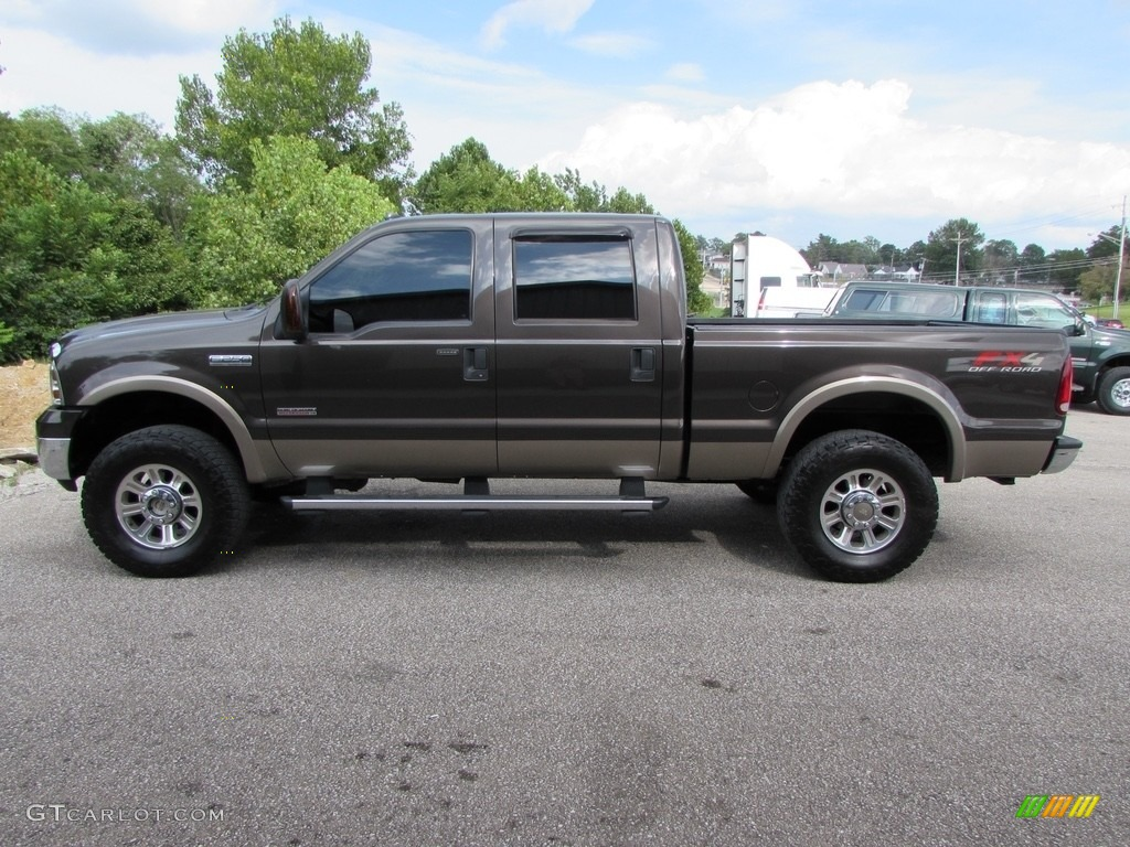 2005 F250 Super Duty Lariat Crew Cab 4x4 - Dark Shadow Grey Metallic / Tan photo #1