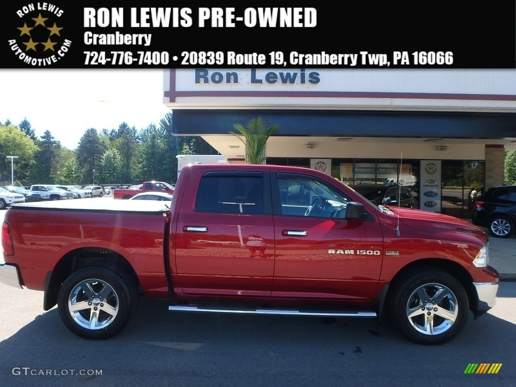 2012 Ram 1500 SLT Crew Cab 4x4 - Deep Cherry Red Crystal Pearl / Light Pebble Beige/Bark Brown photo #1