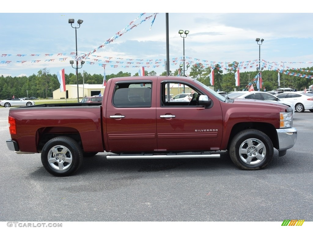 2013 Silverado 1500 LT Crew Cab - Deep Ruby Metallic / Light Cashmere/Dark Cashmere photo #2