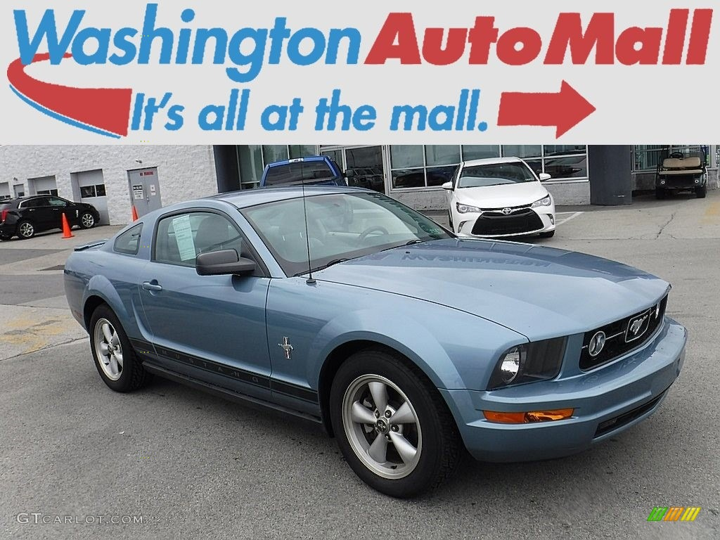 2007 Mustang V6 Deluxe Coupe - Windveil Blue Metallic / Light Graphite photo #1