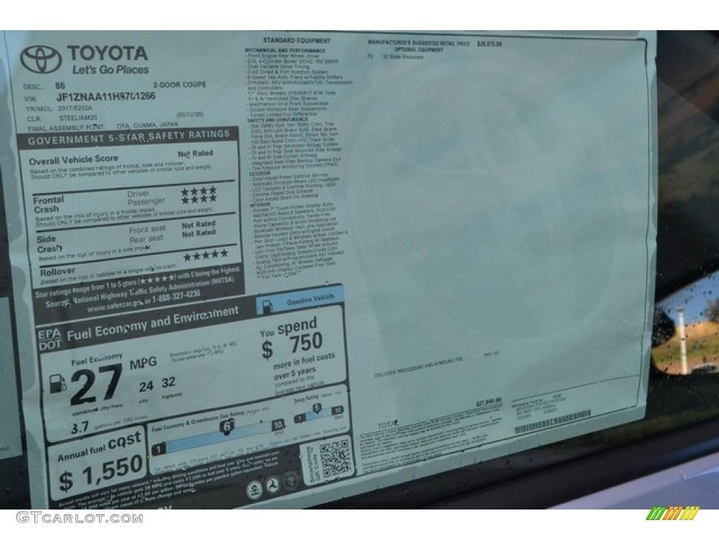 2017 Toyota 86 Standard 86 Model Window Sticker Photo