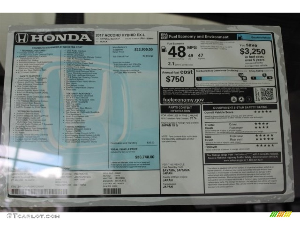 Honda Accord Hybrid EXL Sedan Window Sticker Photos - Stickers for honda accord