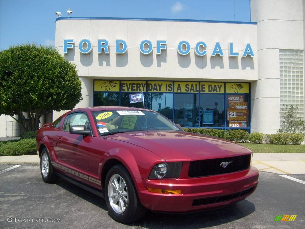 2006 Mustang V6 Deluxe Coupe - Redfire Metallic / Light Parchment photo #1