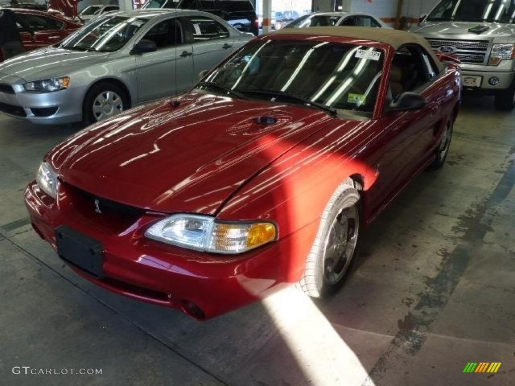1996 Mustang SVT Cobra Convertible - Laser Red Metallic / Saddle photo #1