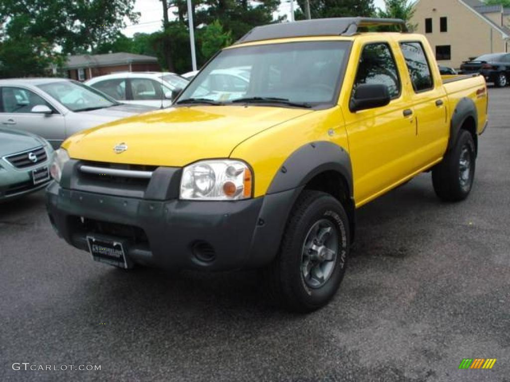2001 frontier xe v6 crew cab 4x4 solar yellow gray photo 1