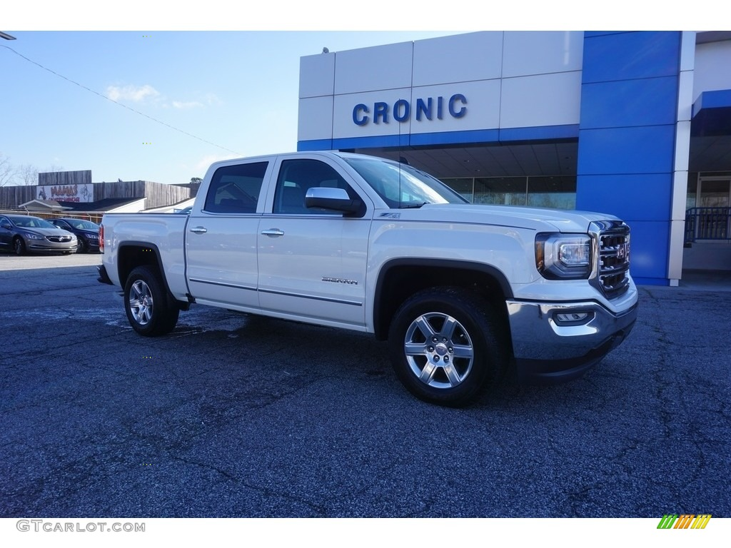 2017 white frost tricoat gmc sierra 1500 slt crew cab 4wd 119263702 car color. Black Bedroom Furniture Sets. Home Design Ideas
