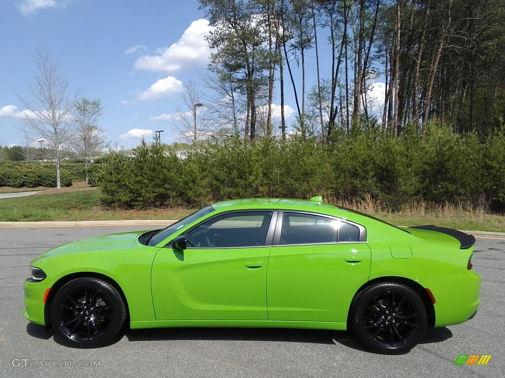 Green go dodge charger
