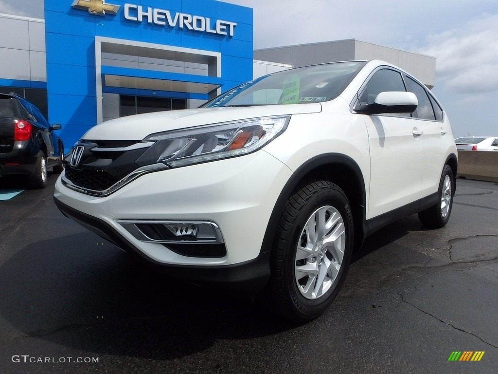 2015 CR-V EX AWD - White Diamond Pearl / Beige photo #2
