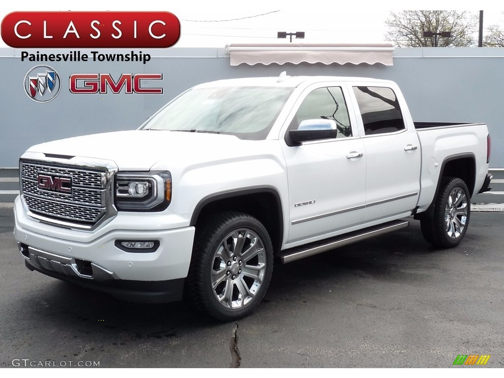 2017 white frost tricoat gmc sierra 1500 denali crew cab 4wd 120084037 car. Black Bedroom Furniture Sets. Home Design Ideas